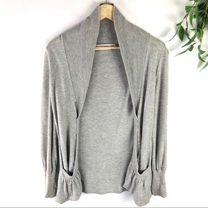 Anthropologie Sparrow Gray Open Front Cardigan